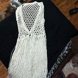 Other - Vintage crocheted vest with fringe